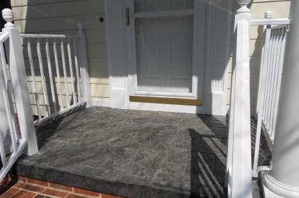 New Stamped Concrete Porch Cap, New Front Door, All New Synthetic Trim Around Door